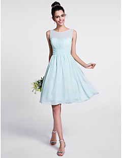2017 Lanting Bride® Knee-length Chiffon Bridesmaid Dress - A-line Scoop with Draping