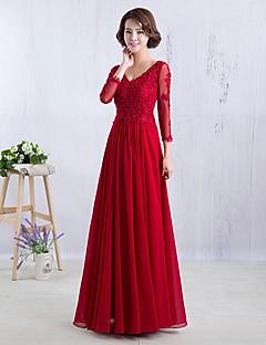 포멀 이브닝 드레스 A-라인 V-넥 바닥 길이 쉬폰 와 아플리케
