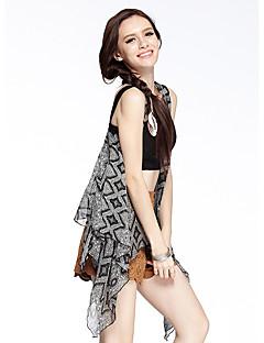 heartsoul kvinders gå ud simple sommer jakker, udskrive rund hals ærmeløs grå / gul / lilla polyester tynd