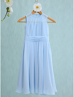 2017 Lanting vestido bride® na altura do joelho chiffon dama de honra júnior bainha / jóia coluna com ruching