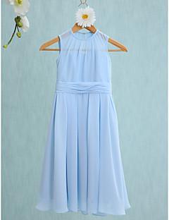 2017 Lanting Bride® Knee-length Chiffon Junior Bridesmaid Dress Sheath / Column Jewel with Ruching