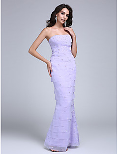 TS Couture® Formal Evening Dress Trumpet / Mermaid Strapless Floor-length Chiffon with Beading / Tiers