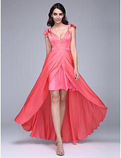 Evento Formal Vestido Linha A Decote V Assimétrico Chiffon Acetinado com