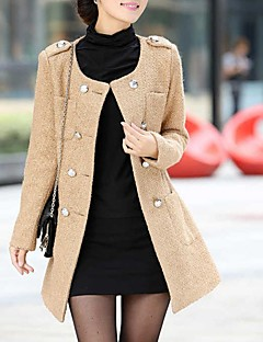Women's Casual/Daily Simple Coat,Solid Notch Lapel Long Sleeve Winter Pink / Beige / Black / Green / Orange Wool Thick