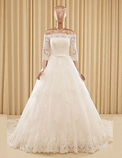 A-line Wedding Dress Chapel Train Off-the-shoulder Lace / Tulle with Appliques / Lace / Sash / Ribbon