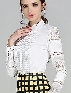Women's Solid OL Style Hook Hollow Out Lace Slim All Match Plus Size Shirt,Shirt Collar Long Sleeve