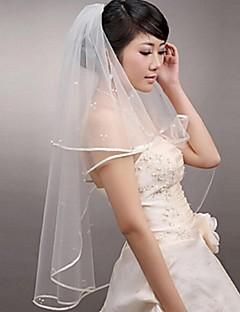 Véus de Noiva Duas Camadas Véu Ruge Véu Cotovelo Véu Ponta dos Dedos Borda com Tira Tule Branco Marfim