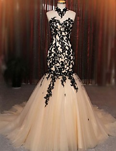 2017 Formal Evening Dress Fit & Flare Halter Court Train Lace / Tulle with Appliques / Lace