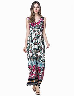 여성 칼집 드레스 플러스 사이즈 보호 프린트,V 넥 맥시 민소매 화이트 면 폴리에스테르 봄 여름 중간 밑위 약간의 신축성 중간