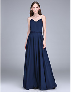 Lanting Bride®Floor-length Chiffon Bridesmaid Dress Sheath / Column Spaghetti Straps with