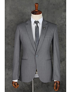 Suits Slim Fit Notch Single Breasted One-button Polyester Solid 2 Pieces Gray Straight Piped Gray
