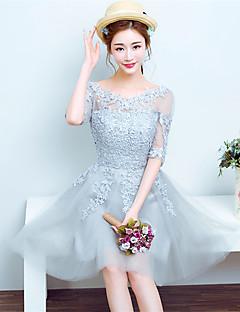 칵테일 파티 드레스 A-라인 스쿱 숏 / 미니 레이스 / 튤 와 레이스