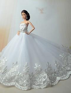 Hochzeit Kleider Für Barbie-Puppe Silber / Weiß Kleider Für Mädchen Puppe Spielzeug