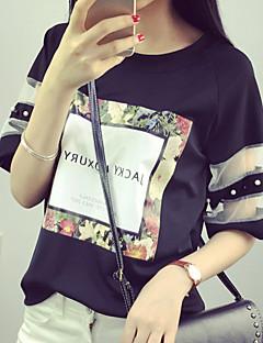T-shirt Da donna Per uscire Moda città Estate,Con stampe Rotonda Cotone Bianco / Nero Manica corta Sottile