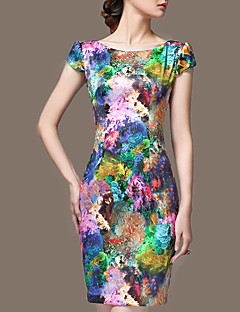 Women's Plus Size / Formal / Holiday Vintage Sheath Dress,Floral Round Neck Above Knee Sleeveless Multi-color Silk Summer / Fall