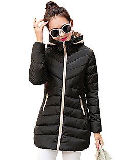Women's Color Block Fashion Slim Thicken Warm Down,Street chic Hooded Long Sleeve