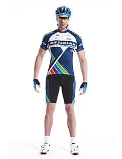 MYSENLAN® חולצת ג'רסי ומכנס קצר לרכיבה לגברים שרוול קצר אופניים נושם / ייבוש מהיר / רוכסן עמיד למים / רוכסן קדמי / לבישמחממי זרוע /