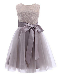 Ball Gown Tea-length Flower Girl Dress - Lace / Tulle Sleeveless Jewel with Bow(s) / Lace / Sash / Ribbon