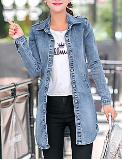 Damen Solide Einfach Ausgehen / Lässig/Alltäglich Jeansjacken,Hemdkragen Herbst Langarm Blau Baumwolle Mittel