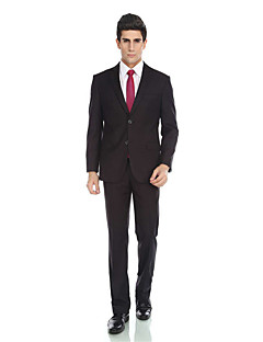2017 Tuxedos Tailored Fit Notch Single Breasted Two-buttons Viscose/ Wool & Polyester Blended Solid 2 Pieces Black