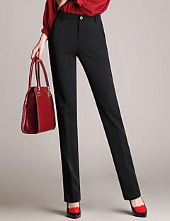 Women's Solid Black Business Pants,Simple,Plus Size