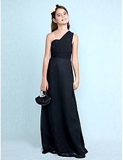 Lanting Bride Floor-length Chiffon Junior Bridesmaid Dress Sheath / Column One Shoulder with Side Draping