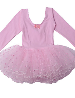 Cotton Pink Polka Dots Long Sleeve Ballet Tutu Dresses for 3~8 Years Children Girls,Dancing Party Performance Costume