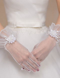 手首丈 指先 グローブ チュール ポリエステル ブライダル手袋 パーティー/イブニング手袋 春 夏 秋 冬 フラワー