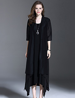 es Dannuo Anlass Stil Saison Oberbekleidung Art der Frauen, Muster-Ausschnitt Farbe Gewebedicke Hülsenlänge