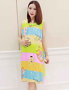 Maternity Casual/Daily Simple Loose Dress,Floral V Neck Knee-length Sleeveless Multi-color Polyester Summer