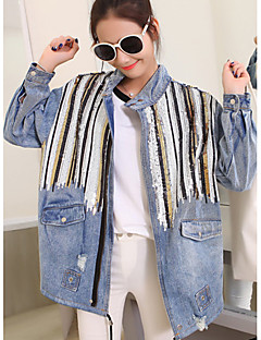 Women's Going out / Casual/Daily Simple /  Fall Denim Jackets,Solid Shirt Collar Long Sleeve Blue Cotton