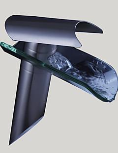 Moderni Pesuallas Vesiputous with  Keraaminen venttiili Yksi kahva yksi reikä for  Nickel Brushed , Kylpyhuone Sink hana
