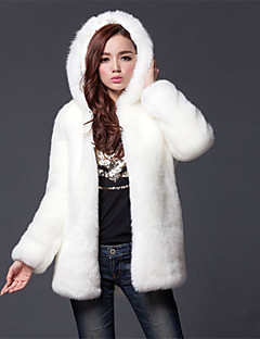 Women's Plus Size / Party/Cocktail Simple Fur Coat,Solid Hooded Long Sleeve Fall / Winter White Acrylic Thick