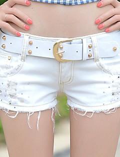 Mulheres Calças Simples Shorts / Jeans Algodão Micro-Elástica Mulheres