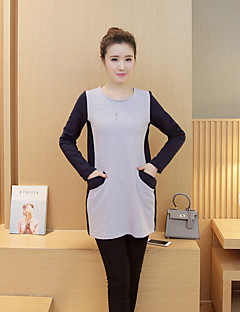 Simple Loose Dress,Color Block Round Neck Above Knee Long Sleeve Gray Cotton Fall Micro-elastic Medium