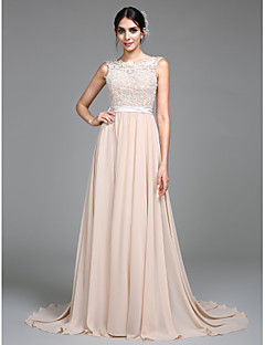Lanting Bride® Wedding Party Dress A-line Scoop Court Train Chiffon with Appliques