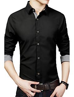 男性用 プレイン カジュアル / プラスサイズ シャツ,長袖 コットン / ポリエステル ブラック / ブルー / ホワイト