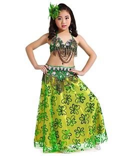 Taniec brzucha Outfits Dla dzieci Wydajność Szyfon Paillettes 3 elementy Bez rękawów Wypada góra / Pas / SpódnicaTop Length :34cm Skirt