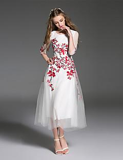 es Dannuo vrouwen gaan eenvoudig een lijn jurk, geborduurd ronde hals midi ½ lengte koker witte polyester zomer