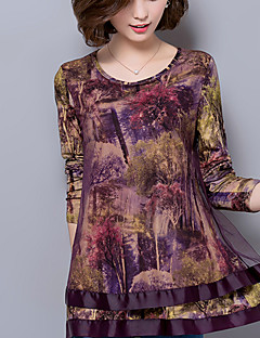 Women's Plus Size / Casual Street chic Fall Loose Fashion Blouse Shirts,Print Mesh Long Sleeve Brown / Purple Chiffon