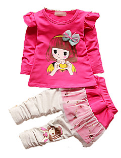 Girl's Casual/Daily Print Clothing Set,Cotton Fall Green / Pink / Red / Yellow