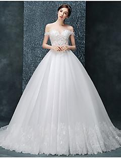 Da ballo Abito da sposa Strascico da cappella Drappeggiata Tulle con Con applicazioni / Perline / Con balze