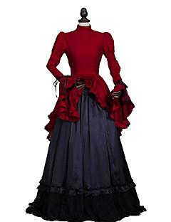 Uma-Peça/Vestidos Gótica Steampunk® / Vitoriano Cosplay Vestidos Lolita Vermelho / Preto Cor Única Manga Comprida Comprimento Longo