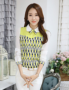 Women's Casual/Daily Simple Spring Shirt,Geometric Shirt Collar Long Sleeve Yellow Cotton Medium