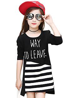 Girl's Cotton Spring/Autumn Fashion Cartoon Stripes Patchwork Round Neck Long Sleeve T Shirt Skirt