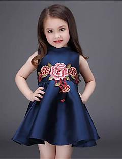 Mädchen Kleid-Ausgehen Bestickt Polyester Sommer Blau