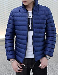 Pánské Standardní S vycpávkou Běžné/Denní Jednobarevné-Kabát Nylon Bavlna Dlouhý rukáv