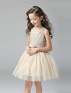 A-line Knee-length Flower Girl Dress - Cotton / Satin / Tulle Sleeveless Jewel with Bow(s) / Lace