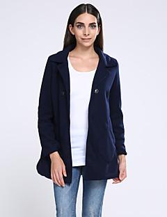 Women's Solid  Coat  Casual  Plus Sizes Long Sleeve Fleece