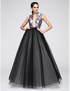 TS Couture Soirée Formel Robe - Sexy Trapèze Col en V Longueur Sol Satin Tulle avec Motif / Impression